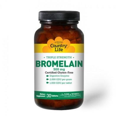 Бромелайн (Bromelain) тройная сила 500 мг 30 таблеток ТМ Кантри Лайф / Country Life
