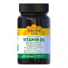 Витамин D3 10000 МЕ Кантри Лайф / Country Life 60 мягких капсул