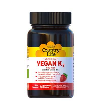 Витамин K-2 (Vegan K2) 500 мкг 60 капсул Кантри Лайф