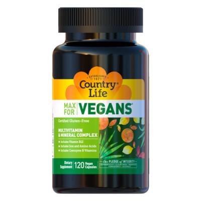 Мультивитамины для веганов Max for vegan капсулы №120 ТМ Кантри Лайф / Country Life