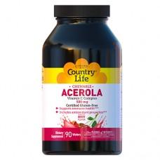 Ацерола витамин С комплекс 500 мг жевательные таблетки №90 ТМ Кантри Лайф / Country Life