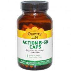 Витамины Action B-50 (Экшн В-50) 100 капсул ТМ Кантри Лайф / Country Life