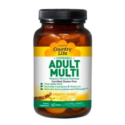 Мультивитамины для взрослых 60 жевательных таблеток ТМ Кантри Лайф / Country Life