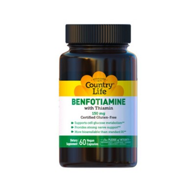 Бенфотиамин с Витамином В-1 (Benfotiamine) 150мг ТМ Кантри Лайф / Country Life 60 капсул