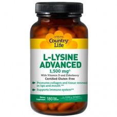 Аминокислота L-лизин Адванс 1,500 мг 180 капсул ТМ Кантри Лайф / Country Life