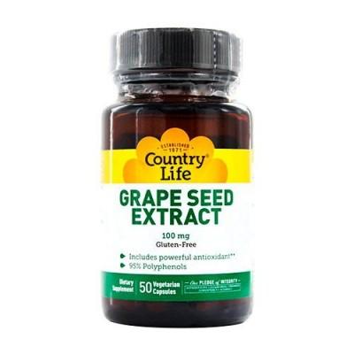 Био-активная добавка Grape Seed Extract (Экстракт виноградных косточек) 100 мг 50 капсул ТМ Кантри Лайф / Country Life