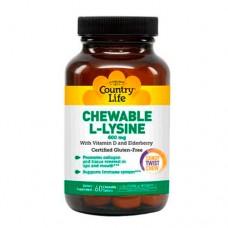 Аминокислота L-лизин 600 мг 60 жевательных таблеток ТМ Кантри Лайф / Country Life