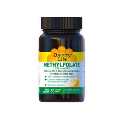 Фолиевая кислота (метилфолат) 800 мкг с апельсиновым вкусом 60 жевательных конфет ТМ Кантри Лайф / Country Life