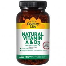 Витамины Natural Vitamin A & D капсулы №100 ТМ Кантри Лайф / Country Life