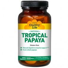 Тропическая папайя 200 жевательных таблеток ТМ Кантри Лайф / Country Life
