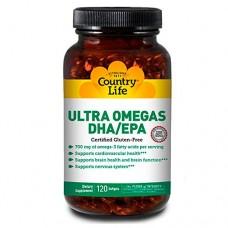 Ультра омегас DHA/EPA 120 мягких капсул ТМ Кантри Лайф / Country Life