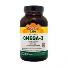 Омега-3 рыбий жир 100 мягких капсул ТМ Кантри Лайф / Country Life