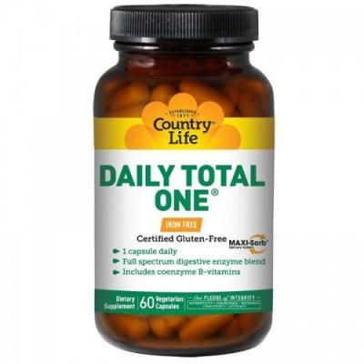 Витаминно-минеральный комплекс Дейли Тотал Ван без железа капсулы №60 ТМ Кантри Лайф / Country Life