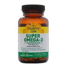 Супер Омега-3 концентрированный рыбий жир 60 мягких капсул ТМ Кантри Лайф / Country Life