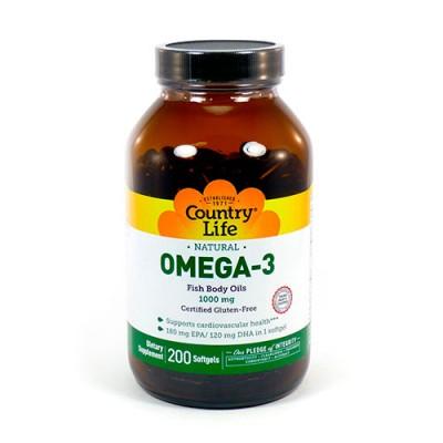 Омега-3 рыбий жир 1000 мг 200 мягких капсул ТМ Кантри Лайф / Country Life