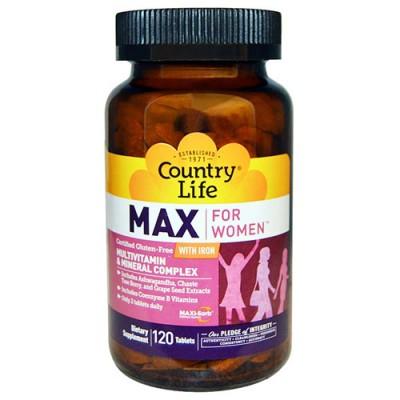 Витамины Max for Women with Iron 120 таблеток ТМ Кантри Лайф / Country Life