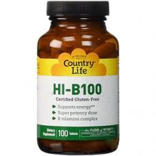 Витамины Super Potecy Hi-B-100 100 таблеток ТМ Кантри Лайф / Country Life