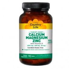 Кальций-Магний-Цинк + витамин D3 таблетки №180 ТМ Кантри Лайф / Country Life