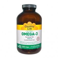 Омега-3 рыбий жир 1000 мг 300 мягких капсул ТМ Кантри Лайф / Country Life