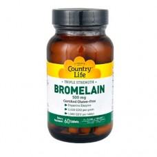 Бромелайн тройная сила 500 мг 60 таблеток ТМ Кантри Лайф / Country Life