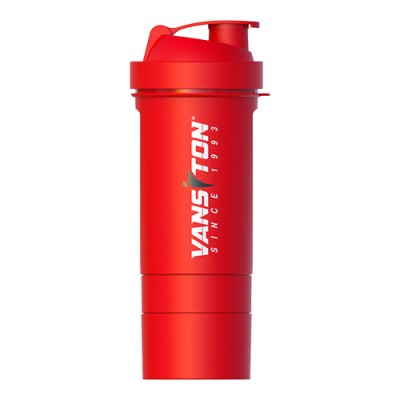 Шейкер красный 600 мл + 2 отсека (с таблетницей) ТМ Ванситон / Vansiton